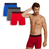 Bamboe boxershorts Rico (3-pack) – Blauw,grijs en rood_