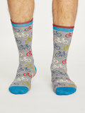 Bamboe sokken met fietsprint grey marle_