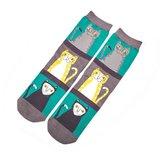 groene sokken met Katten print