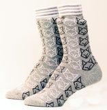 Bio katoenen grijze sokken met vossen_
