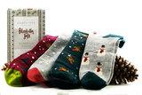 Sale Bamboe set van 4 paar herensokken wintermotief in gift pack_