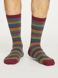Bamboe sokken Kennet stripe bilberry_