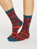 Bamboe dames sokken Folk Floral bilberry_