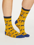Bamboe dames sokken Animal Kin mustard_