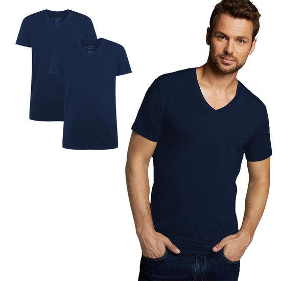 Bamboe T-Shirt v-hals Velo 2 pack – navy from Lotika