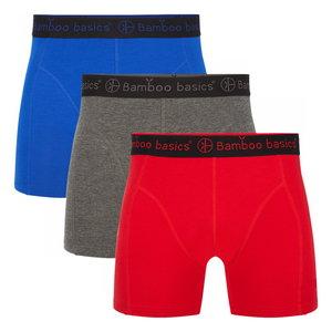 Bamboe boxershorts Rico (3-pack) – Blauw,grijs en rood