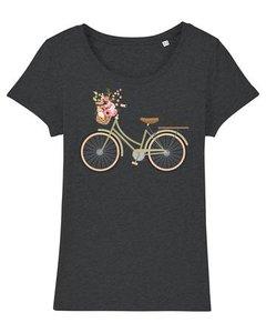 Bio-katoenen T shirt met damesfiets