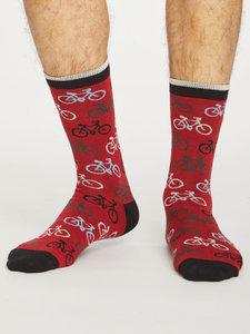 Bamboe sokken met fietsprint pillarbox red