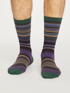 Bamboe sokken Lauritz Stripe royal purple