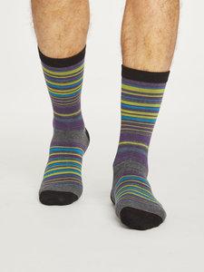 Bamboe sokken Lauritz Stripe dark grey marle