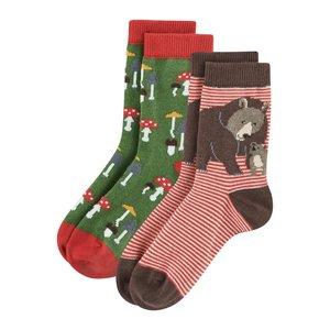 Kindersokken 2 paar vrolijke Bio-katoenen sokken  met beer en paddestoeltjes