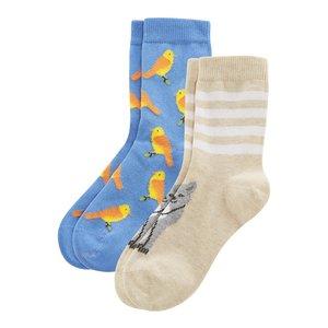 Kindersokken 2 paar vrolijke Bio-katoenen sokken  met dieren