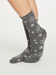 Bamboe sokken sneeuwvlokje grijs