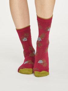 Bamboe sokken Foliage rood
