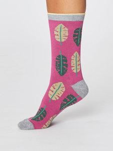 bamboe dames sokken tropical leaf magenta