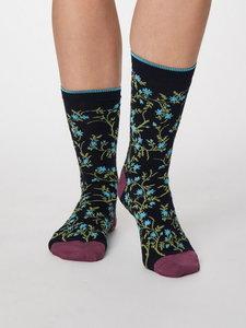 Floreal navy bamboe sokken