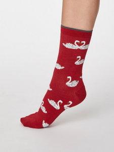 Bamboe sokken zwaan berry red