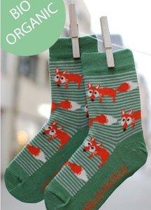 Bio-katoenen gestreepte sokken met vosjes