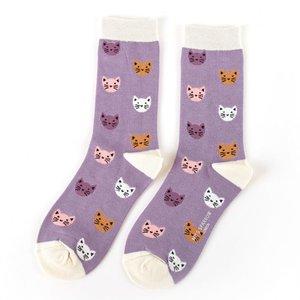 bamboe sokken lavendel kitty faces