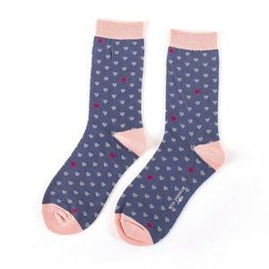 bamboe blauwe sokken met hartjes