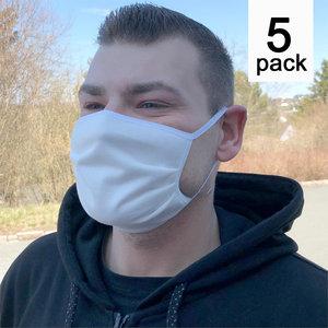 Mondmasker pakket van 5 stuks kleur wit