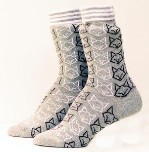 Bio katoenen grijze sokken met vossen