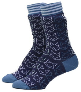Bio katoenen blauwe sokken met vossen