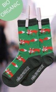Bio-katoenen sokken met oranje vosjes
