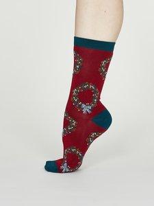 bamboe dames sokken Adella berry red