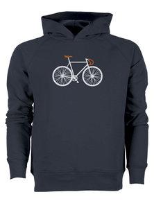 Fair trade hoodie met fietsprint