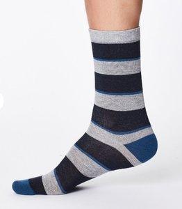 bamboe sokken met navy streep