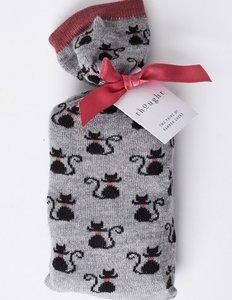 bamboe 2 paar damessokken zwarte kat in cadeauzakje zakje