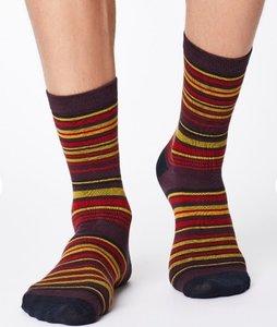 streepjes sokken aubergine