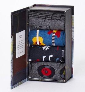 Bamboesokken set van 4 paar in cadeau doos Muziek