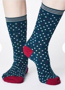 bamboe damessokken Niven teal blue sokken