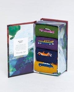Bamboe herensokken set van 4 paar in cadeau doos classic cars
