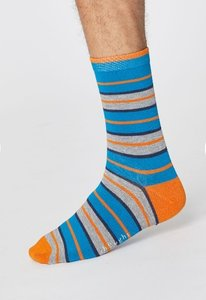 Bamboe rugby stripe herensokken bright blue