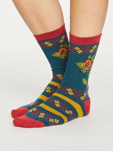 Bamboe dames sokken Folk Floral deep teal
