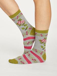 Bamboe dames sokken Folk Floral grey marle