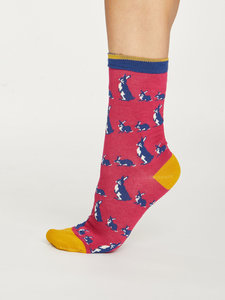 Bamboe dames sokken Animal Kin magenta