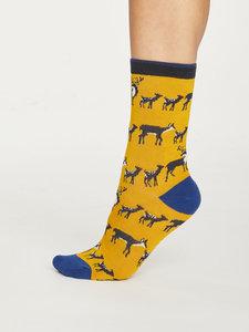 Bamboe dames sokken Animal Kin mustard