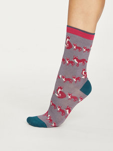 Bamboe dames sokken Animal Kin slate grey