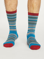 blauwe bamboe sokken met streepjes