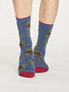 Bamboe-sokken-Foliage-teal-blue