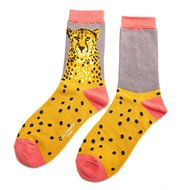 cheetah bamboe dames sokken grijs grey
