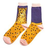 cheetah bamboe dames sokken navy - blauw