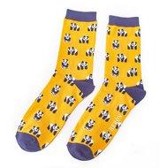 heren sokken panda print geel