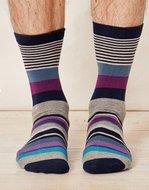 Bamboe Billy gestreepte navy sokken