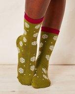 bamboe dames sokken sneeuwvlokje