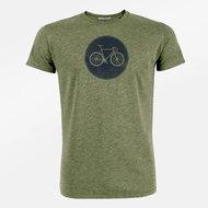Duurzaam heren shirt met fiets kaki